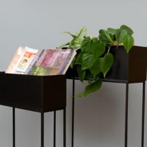 זוג אדניות מתכת שחורות PLANT