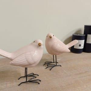 זוג ציפורי פורצלן עומדות | UCCELLINI ROSA