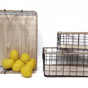 סט איחסון ממתכת בשילוב עץ | SOLUZIONE