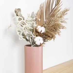 אגרטל מט מעוצב לפרחים גוון ורוד
