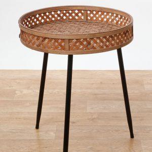 שולחן ראטן עם רגלי מתכת