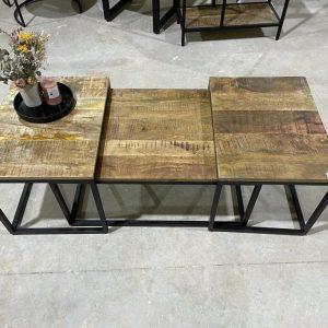 סט שולחנות מעץ מנגו | TORRIDA