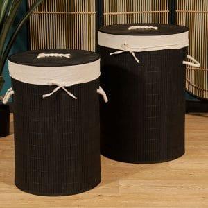 זוג סלי כביסה עגולים | BLACK
