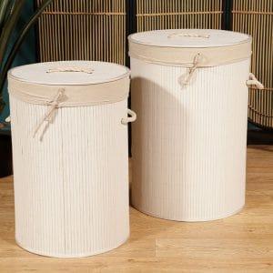 זוג סלי כביסה עגולים | WHITE