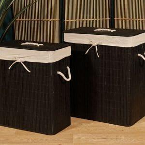 זוג סלי כביסה מלבניים | BLACK